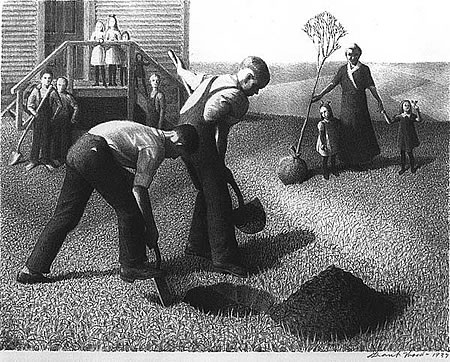 Φύτευση Δένδρων Grant Wood, Tree Planting Group