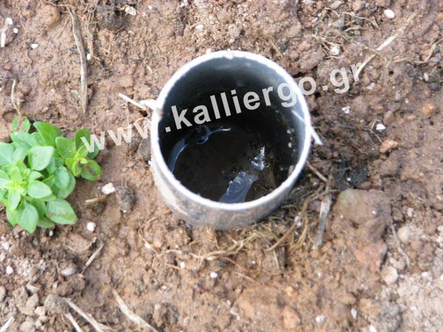 Μετά από τρία ποτίσματα το υπέδαφος έχει πληρωθεί από νερό και ο σωλήνας δεν αδειάζει γρήγορα