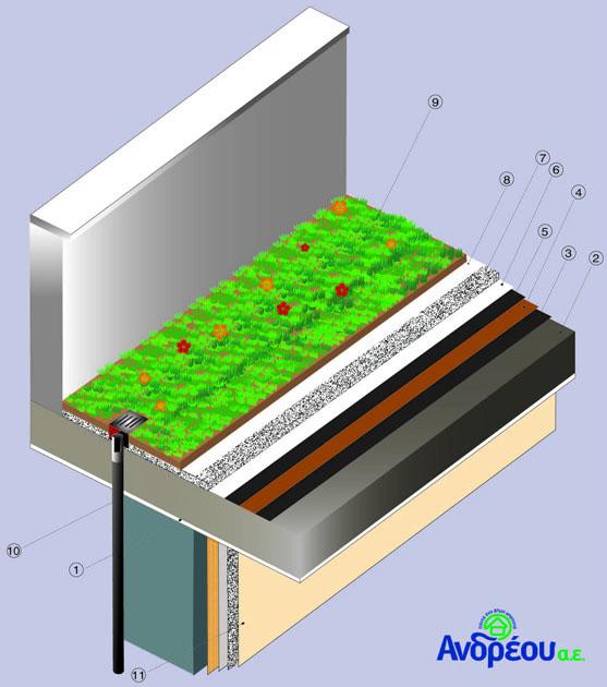 τομή κατασκευής πράσινης στέγης